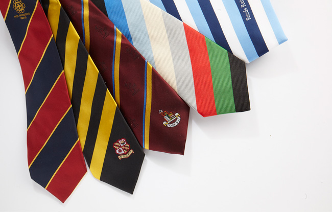 Silk ties printed with club colours and logo